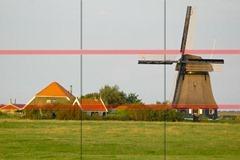 En este ejemplo vemos como la linea del horizonte de nuestra foto coincide con la línea inferior de nuestra cuadrícula